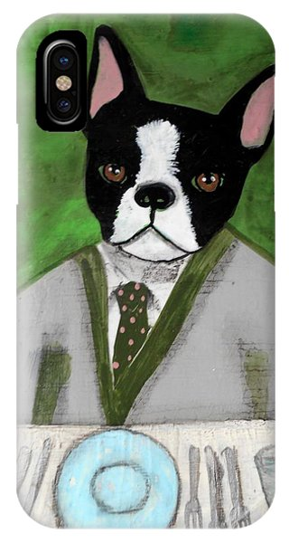 Boston Terrier At A Formal Dinner IPhone Case