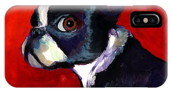 Impressionistic iPhone Case - Boston Terrier Dog Portrait 2 by Svetlana Novikova