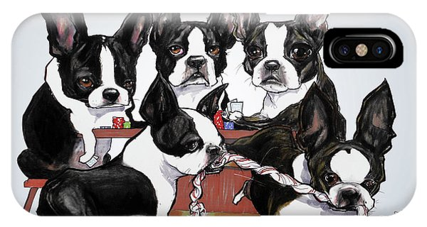 Boston Terrier - Dogs Playing Poker IPhone Case