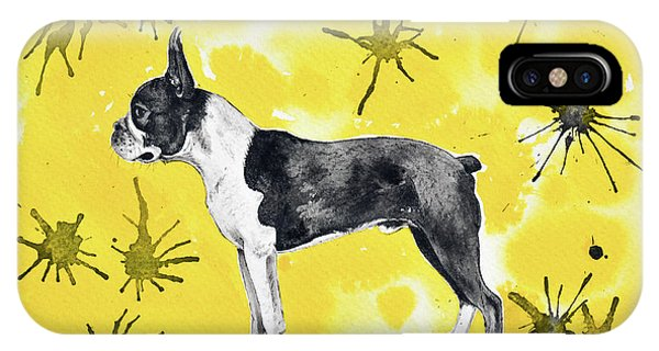 IPhone Case featuring the painting Boston Terrier On Yellow by Zaira Dzhaubaeva