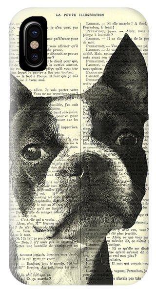 Massachusetts iPhone Case - Boston Terrier Portrait In Black And White by Madame Memento