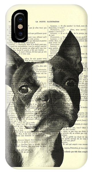 Pup iPhone Case - Boston Terrier Portrait In Black And White by Madame Memento