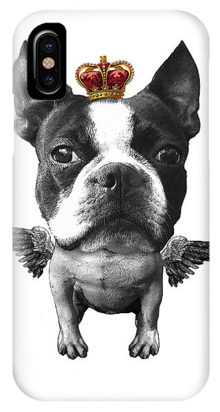 Pet Portrait iPhone Case - Boston Terrier, The King by Madame Memento