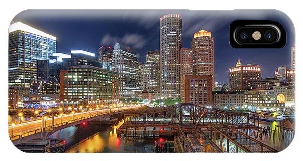 Boston's Skyline At Night IPhone Case