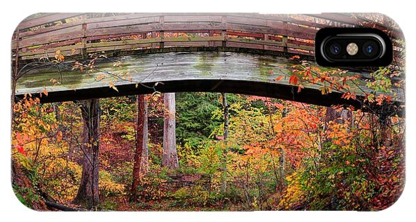 Botanical Gardens Arched Bridge Asheville During Fall IPhone Case