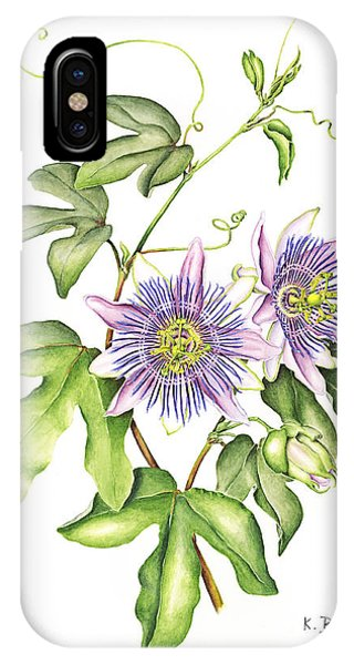 Botanical Illustration Passion Flower IPhone Case