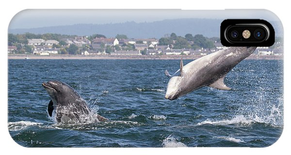 IPhone Case featuring the photograph Bottlenose Dolphins - Moray Firth Scotland #45 by Karen Van Der Zijden