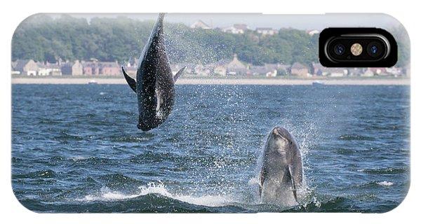 IPhone Case featuring the photograph Bottlenose Dolphins - Moray Firth Scotland #46 by Karen Van Der Zijden
