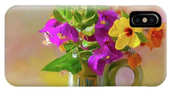 Bougainvilleas In A Green Jar. IPhone Case
