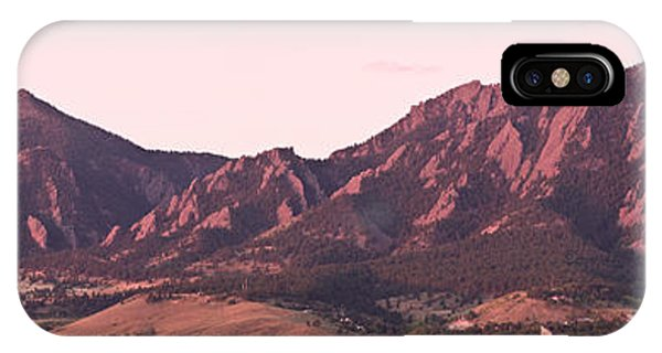 Boulder Colorado Flatirons 1st Light Panorama IPhone Case