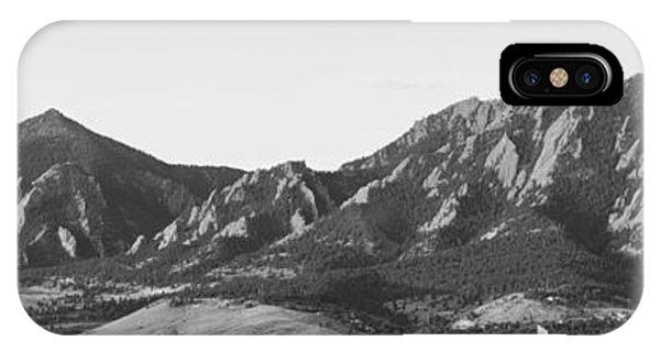 Boulder Colorado Flatirons And Cu Campus Panorama Bw IPhone Case