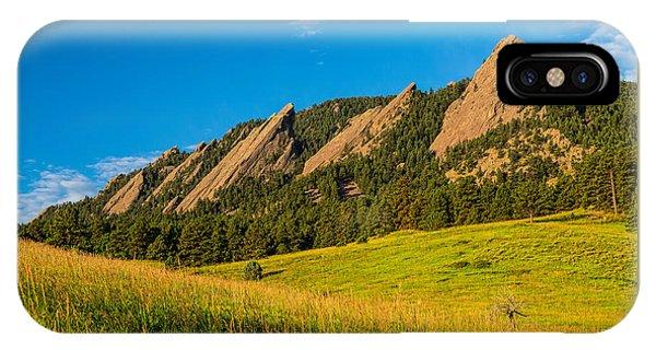 Boulder Colorado Flatirons Sunrise Golden Light IPhone Case