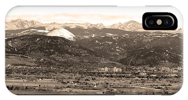 Boulder Colorado Sepia Panorama Poster Print IPhone Case