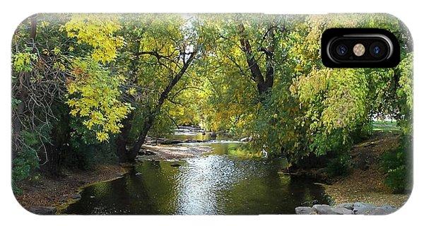 Boulder Creek Tumbling Through Early Fall Foliage IPhone Case