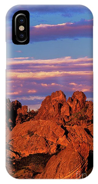 IPhone Case featuring the photograph Boulders Sunset Light Pinnacles National Park Californ by Dave Welling