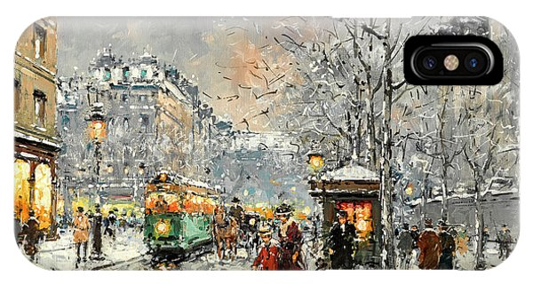 Trolley Car iPhone Case - Boulevard Des Capucines Under The Snow, Paris by Antoine Blanchard