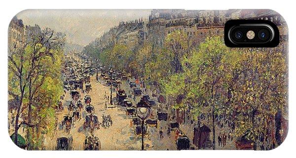 Avenue iPhone Case - Boulevard Montmartre by Camille Pissarro