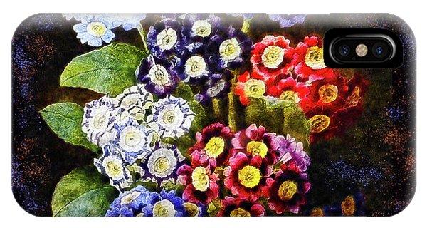 IPhone Case featuring the digital art Bouquet Of Auriculas Redoute by Joy McKenzie