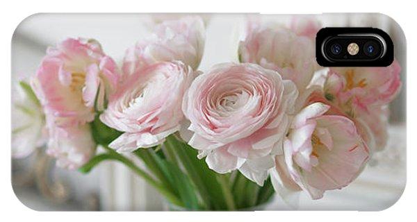 Bouquet Of Delicate Ranunculus And Tulips In Interior IPhone Case