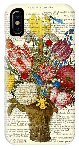 Floral iPhone X Case - Bouquet Of Flowers On Dictionary Paper by Madame Memento