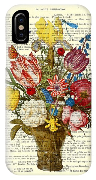 Bouquet iPhone X Case - Bouquet Of Flowers On Dictionary Paper by Madame Memento
