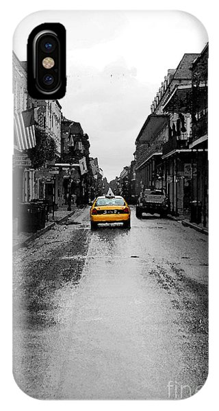 Bourbon Street Taxi French Quarter New Orleans Color Splash Black And White Watercolor Digital Art IPhone Case