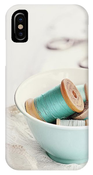 Bowl Of Vintage Spools Of Thread IPhone Case