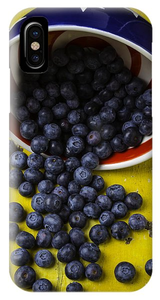Blue Berry iPhone Case - Bowl Pouring Out Blueberries by Garry Gay