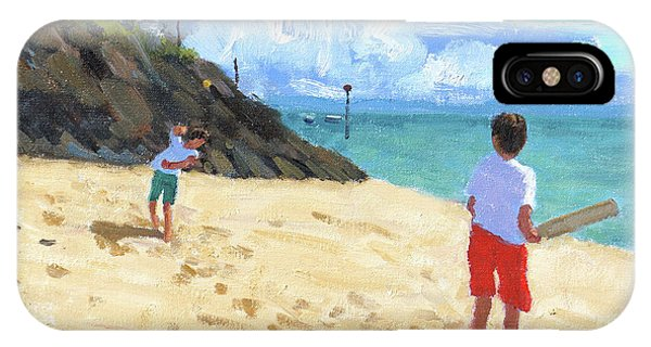Cricket iPhone Case - Bowling And Batting, Abersoch by Andrew Macara
