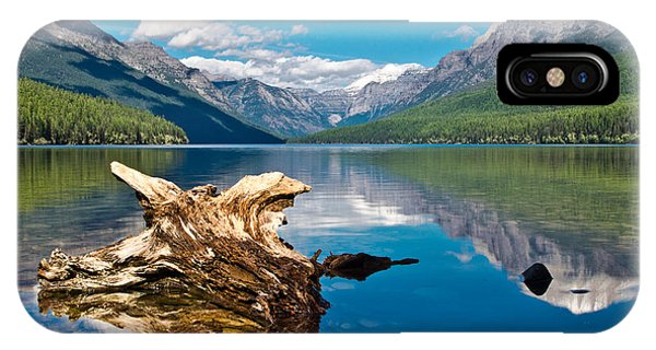 Bowman Lake 1, Glacier Nat'l Park IPhone Case