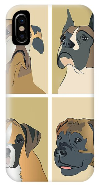 Boxer Dogs 4 Up IPhone Case
