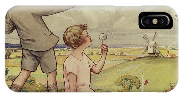 Park iPhone Case - Boy And Girl Flying A Kite by English School