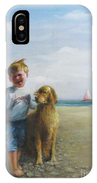 Boy And His Dog At The Beach IPhone Case