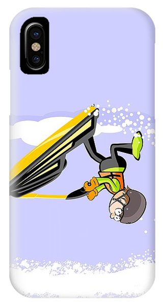 Jet Ski iPhone Case - Boy Doing Pirouettes In The Sea With A Yellow Jet Ski by Daniel Ghioldi