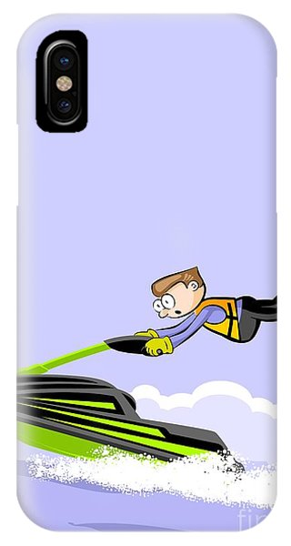 Jet Ski iPhone Case - Boy Doing Pirouettes On The Waves In A Green Jet Ski by Daniel Ghioldi