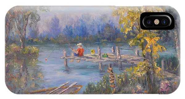 Boy Fishing On Dock And Boat On Lake IPhone Case
