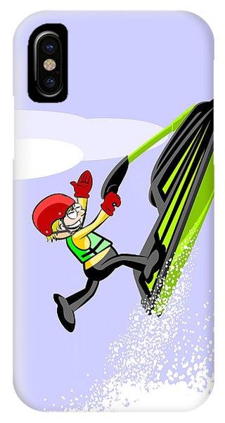 Jet Ski iPhone Case -  Boy Having Fun On A Jet Ski Jumping Between Waves by Daniel Ghioldi
