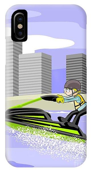 Jet Ski iPhone Case - Boy Having Fun With His Jet Ski On The Beach by Daniel Ghioldi