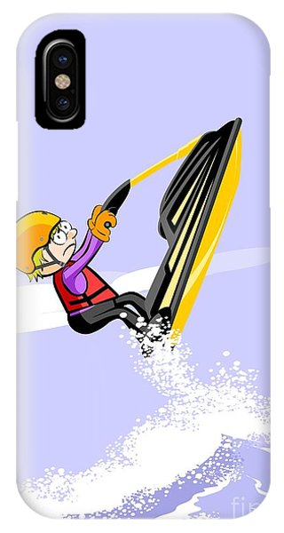 Jet Ski iPhone Case - Boy Jumping On The Waves In A Jet Ski by Daniel Ghioldi