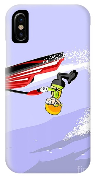Jet Ski iPhone Case -  Boy Jumping Over The Sea In A Red Jet Ski by Daniel Ghioldi