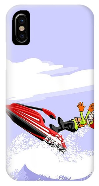 Jet Ski iPhone Case - Boy Loses Control Of His Jet Ski By Falling In The Waves by Daniel Ghioldi