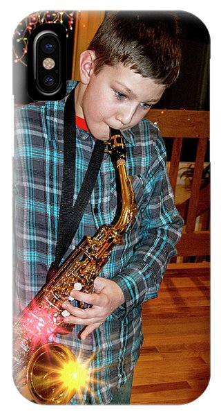 Boy Playing The Saxophone IPhone Case