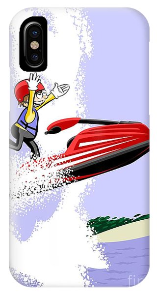 Jet Ski iPhone Case -  Boy Sailing With His Red Jet Ski In The Big Waves Of Hawaii by Daniel Ghioldi