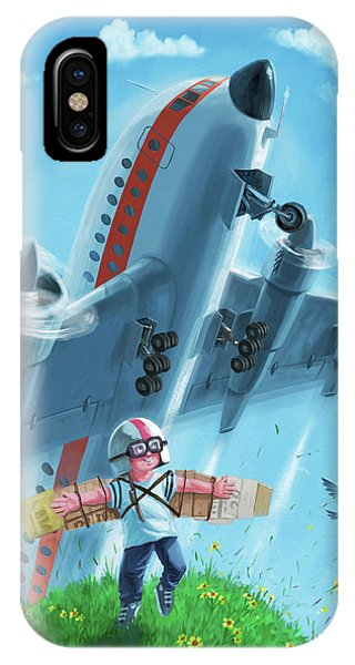 Boy With Airplane On Hilltop IPhone Case