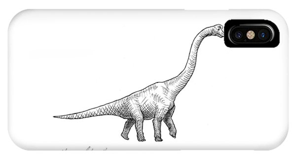 Dinosaur iPhone Case - Brachiosaurus Black And White Dinosaur Drawing  by Karen Whitworth