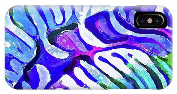 Brain Coral Abstract 5 In Blue IPhone Case