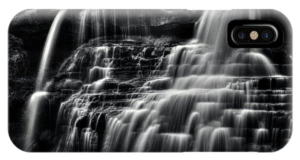 Brandywine Falls At Cuyahoga Valley National Park B W IPhone Case