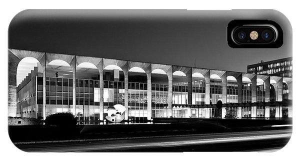 Brasilia - Itamaraty Palace - Black And White IPhone Case
