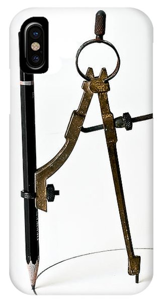 IPhone Case featuring the photograph Brass Compass And Pencil by Bob Orsillo