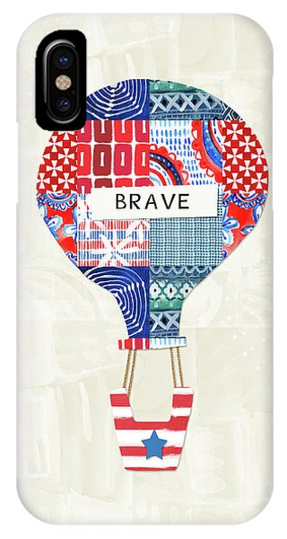 Hot Air Balloons iPhone Case - Brave Balloon- Art By Linda Woods by Linda Woods